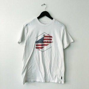 Billabong USA Flag Graphic Tee Shirt Core Fit Surf